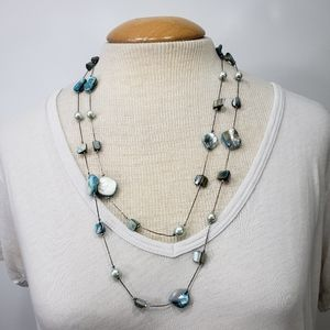 Cute Blue Shell Necklace Double Strand